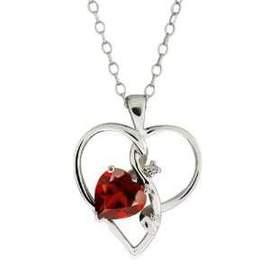 0.91 Ct Heart Shape Red Garnet and White Diamond Sterling