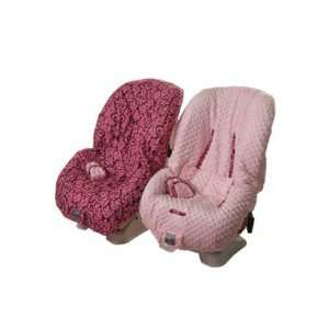 Damask pink & Cocoa Toddler Car Seat Cover Baby