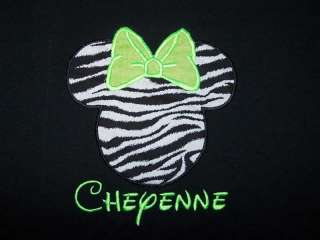 Minnie Mouse Zebra Lime Neon Green Bow Black Shirt SHIP FREE