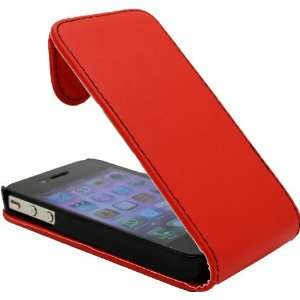 Apple iPhone 4 & iPhone 4S Red Specially Designed Leather Flip Case
