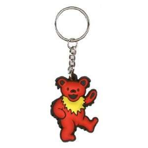 Grateful Dead   Red Dancing Bear   Rubber Keychain