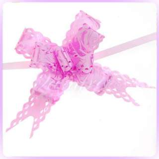 10 Xmas Gift Wrapping Pull Flower Ribbons Bows Pink New