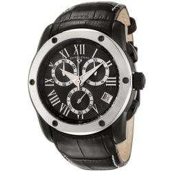 Legend Mens Traveler Black Leather Chronograph Watch
