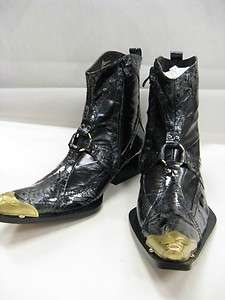 NIB Mens Fiesso Black,Patent,Pointed Toe,Gold Metal Tip,Boots w