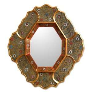 Painted glass mirror, Golden Ivy