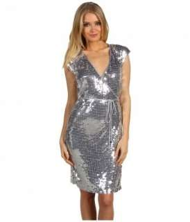 100% Authentic Michael Kors Large Silver Sequin Wrap Dress MSRP$150.00
