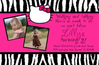Pink Zebra Print Hello Kitty Birthday Invitations