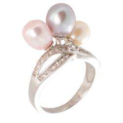 Multi colored Pearl and White Topaz Ring (6 7 mm)