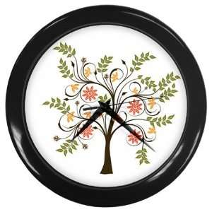 Flower Tree Wall Clock (Black)