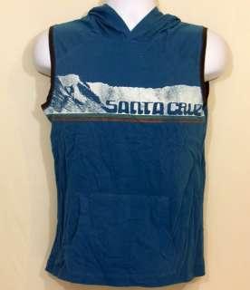 Boys Tee Hooded Muscle Sleeveless Shirt Santa Cruz Surfing Hang Ten L