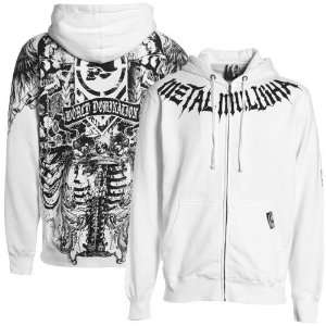 Metal Mulisha White Black Lung Full Zip Hoody Sweatshirt