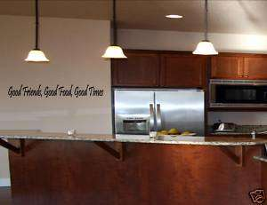 GOOD FRIENDS FOOD TIMES Vinyl Wall Lettering Quotes Art