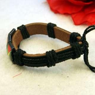 Unique Leather Hemp Alloy Metal Pendant Bracelet Bangle
