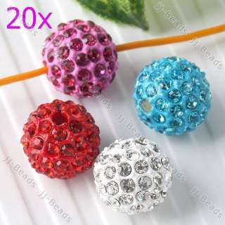 Mixed Color Crystal Rhinestone Pave Disco Ball Loose Spacer Beads Gift