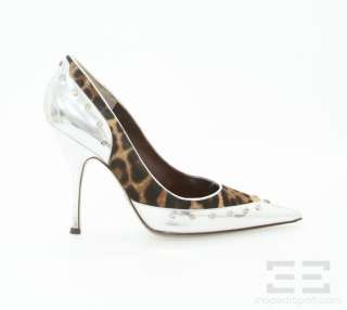 Dolce & Gabbana Leopard Pony Hair & Silver Studded Leather Heels Size