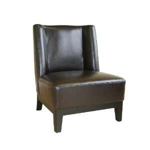 Low Slung Dark Brown Bycast Leather Chair