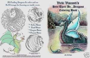 Dragon Coloring Book Fantasy Print Sea Monster Magic