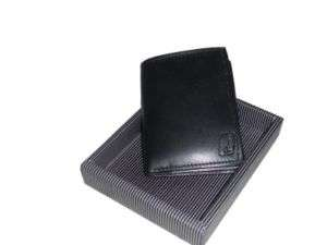 Men Italian design Black Leather Tri fold Wallet #1216