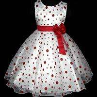 Red Wedding Party Bridesmaid Flower Girls Dress SZ 4 5T