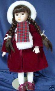 VICTORIAN STYLE PORCELAIN DOLL WINTER DRESS 16 w/stand