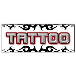 TATTOO 1 BANNER SIGN shop artist signs body art gun: Home