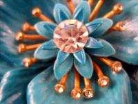 Vtg Crown Trifari Crystal Powder Blue Enamel Flower Pin