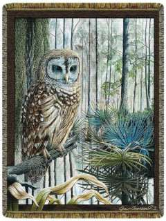 68x48 Swamp OWL Bird Tapestry Afghan Throw Blanket