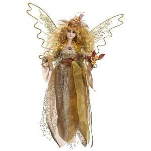 14 Sitting Fairy Ornament Gold Amber (Pack of 2)