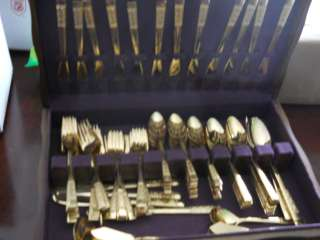 VINTAGE GOLD PLATED FLATWARE SET STANLEY ROBERT KOREA 101 PCS