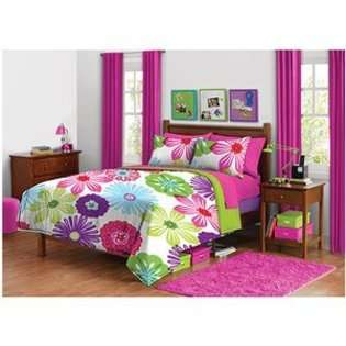 Green Pink Purple Bright Flower Floral Twin Comforter Set