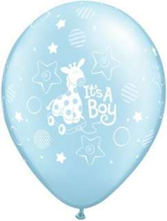 Its A Boy Giraffe Pearl Blue 11 Latex Balloons x 5