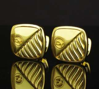 David Yurman DY Logo Cable Solid 18K Gold Cufflinks
