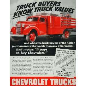 1940 Ad Red Chevrolet Chevy Truck Six Cylinder Engine   Original Print