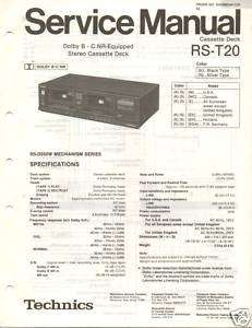 Original Technics Service Manual RS T20 Cassette Deck |