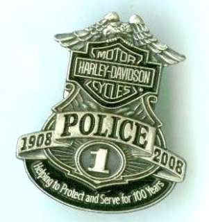HARLEY MOTORCYCLE POLICE 100TH ANNIVERSARY BADGE 1 PN