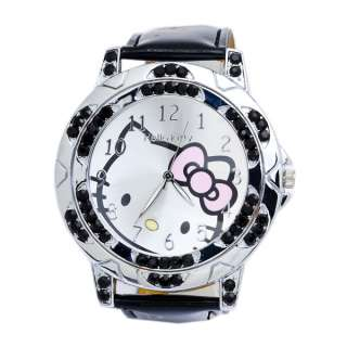 Vp32 Hello Kitty Black Leather Crystal Quartz Watch