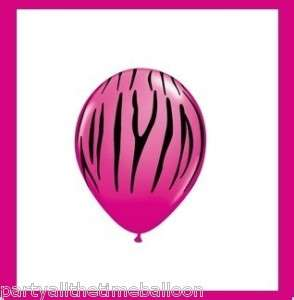 10 PINK ZEBRA latex BALLOONS safari JUNGLE party FAVORS