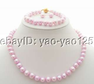 Stunning 8.5MM Baby Pink Pearl Necklace&Bracelet &Earring Set