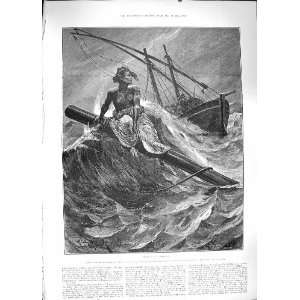 1889 SHIP WRECK RESCUE LIFE BOAT SEA ANTIQUE FINE ART