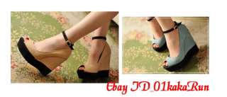 Womens Ankle Strap Platform Open Toe Wedge High Heel