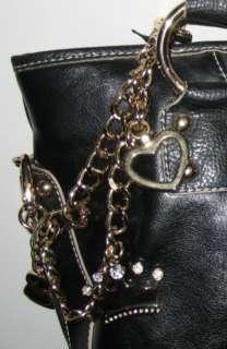 New KATHY VAN ZEELAND Black Handbag Shopper Tote Bag w Gold Chain