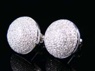 WHITE GOLD MENS LADIES ROUND DOME DIAMOND STUD EARRINGS 1.50 CT