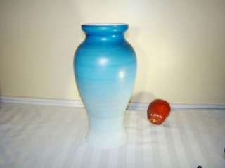 Hand Painted Glass Bristol Vase Blue with Flowers