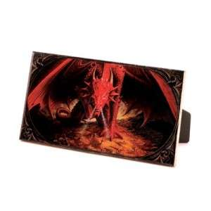 Evil Red Smoke breathing DRAGON Picture on CERAMIC TILE Wall/ Tabletop