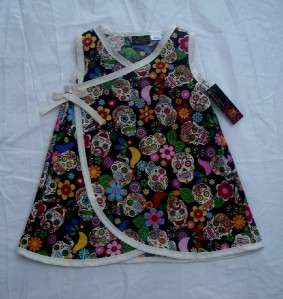 Punk Pink Sugar skull Diaper cover Mexican toddler baby girl dress