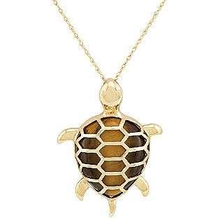 10k Yellow Gold and Tiger Eye Turtle Pendant  Jewelry Gemstones