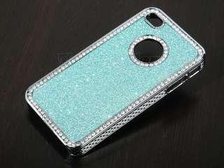 Light Blue Glitter Sparkle Diamond Bling Case Cover For iPhone 4 4S