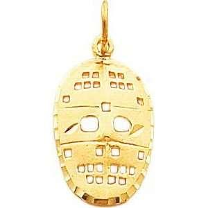 10K Yellow Gold Hockey Goalie Face Mask Charm Jewelry