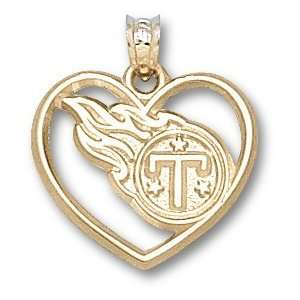 Tennessee Titans Logo Heart Pendant 14K Gold Jewelry