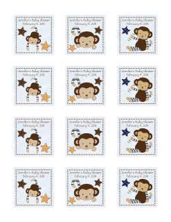 24 Personalized CoCaLo Monkey Mania Baby Shower Favor Stickers